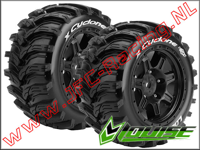 LR-T 3298B, Louise RC X-Cyclone MFT Monster Tires Mounted Black Rims (Sport)(Front / Rear)(215 x 100mm) 2pcs.