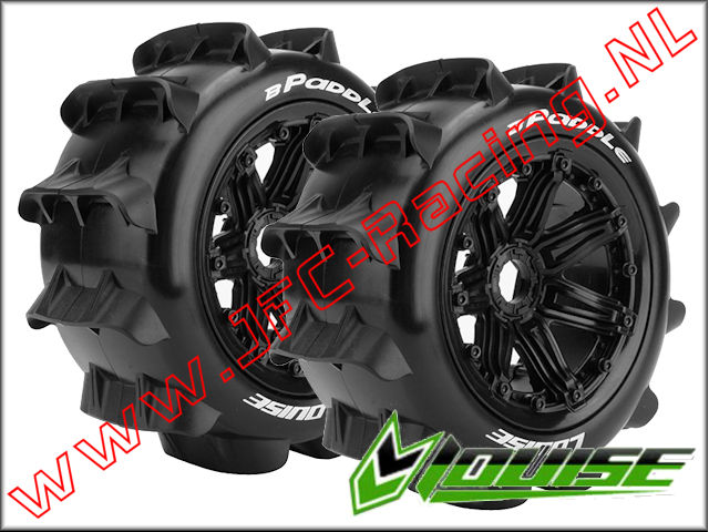 LR-T 3280B, Louise RC B-PADDLE 1-5 Buggy  Tires Mounted Black Rims (Sport)(Rear)(170 x 80mm) 2pcs.